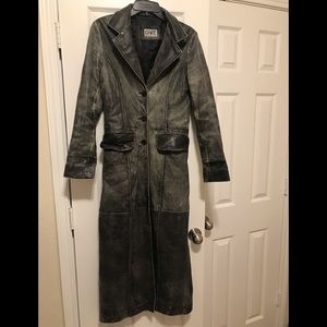 Vintage, distressed leather duster.